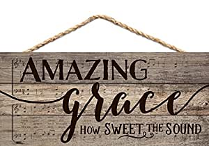 Amazing Grace Rustic Sheet Music Design 5 x 10 Wood Plank Design Hanging Sign