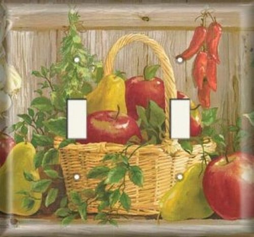Double Light Switchplate Cover - Garden Fruit Basket