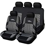 AUTOYOUTH Full Set Seat Covers for Cars Universal Fit Car Seat Protectors Tire Tracks Car Seat Accessories - 9PCS, Black/Gray