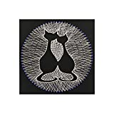 Home Decoration DIY Thread Winding Stereo Couple Cat Decoration Painting, Mural DIY Material Package Decompression Desktop Decoration Ornament, Parent-Child Manual Interactive Game