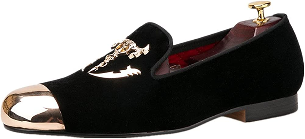 HI/&HANN Mens Velvet Shoes with Skull Buckle and Gold Toe British Style Slip-on Loafer Round Toes Smoking Slipper