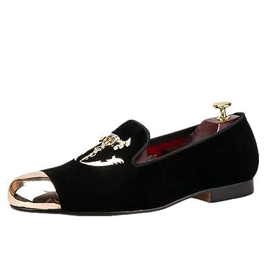 b86992a8e66 HI HANN Men s Velvet Shoes with Skull Buckle and Gold Toe British Style Slip-on  Loafer