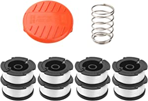 "Wolfish 9 Pack Weed Eater Spool Spool Replacement for Black+Decker AF-100 String Trimmers,30ft 0.065"" Line String Trimmer Replacement Spool, (8 Replacement Spool, 1 Trimmer Cap, 1 Pack Spring)"