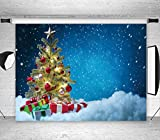 LB Christmas Backdrops for Photography 7x5ft Muslin Blue Snow Sky Background Christmas Tree Photo Backdrops Customized Photo Background Studio Props,Washable Seamless