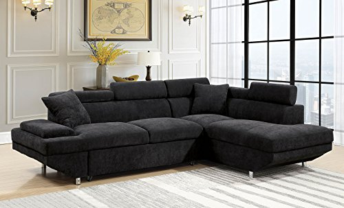 Esofastore Foreman Black Flannelette Fabric Sectional Converts into Bed Sofa Chaise Pull Out Bed Chrome Legs Living Room Furniture