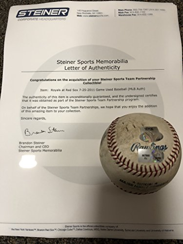 Boston Redsox 7/25/11 Vs Kansas City Royals Authentic MLB Rawlings GAME USED Baseball (USED IN ACTUAL GAME) Steiner Sports & MLB COA & Hologram
