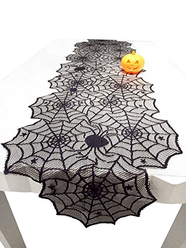 boyspringg Halloween Black Spider Web Table Runner 18x72 inch Polyester Lace Table Runner for Scary Movie Nights Favors Dinner Table Decor