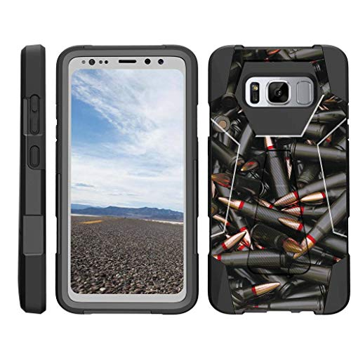 TurtleArmor | Compatible Samsung Galaxy S8 Active Case | G892 [Dynamic Shell] Impact Hard Kickstand Hybrid Shock Silicone Cover Robot Military Army Design - Black Bullets