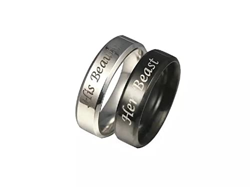 e0d89c47675fd Amazon.com: Vintage His Beauty/Her Beast Couple Lovers Promise Ring ...