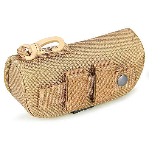 E.T Dragon Molle Sunglass Case, Eyeglasses Hard Case Tactical Molle Zipper Eyewear Carrying Case 1000D Nylon with Clip(Coyote Brown) ()