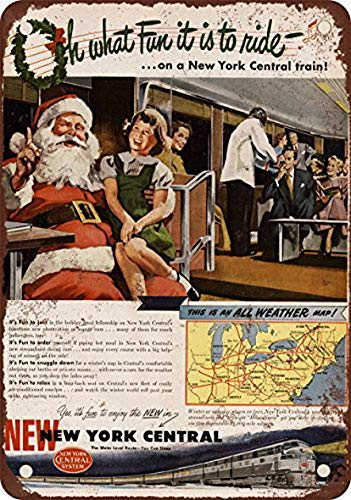 Houseuse 1948 New York Central Christmas Train Vintage Look Reproduction Metal Tin Sign 12X16 Inches