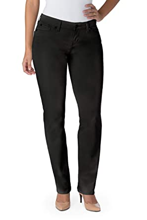 310d45ced8381 Image Unavailable. Image not available for. Color: Signature By Levi  Strauss & Co Women's Curvy Straight Jeans, Noir, 14 Short