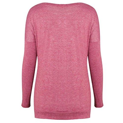 T Inlefen Shirt Chemise Col Rond Poudre Bouton Top Dcoration Mme Lache Chemisier aarqz1UZ8