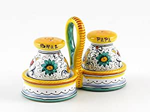 Hand Painted Italian Ceramic Salt & Pepper Shakers Set Raffaellesco - Handmade in Deruta