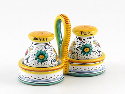 (Hand Painted Italian Ceramic Salt & Pepper Shakers Set Raffaellesco - Handmade in Deruta)