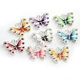 ILOVEDIY 10pcs in Bulk Mixed Color Enamel Butterfly Pendant Charm Bead for Bracelets Necklace