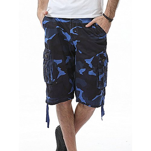 (iLXHD Men's Summer Casual Camouflage Pocket Beach Work Shorts Board Shorts)