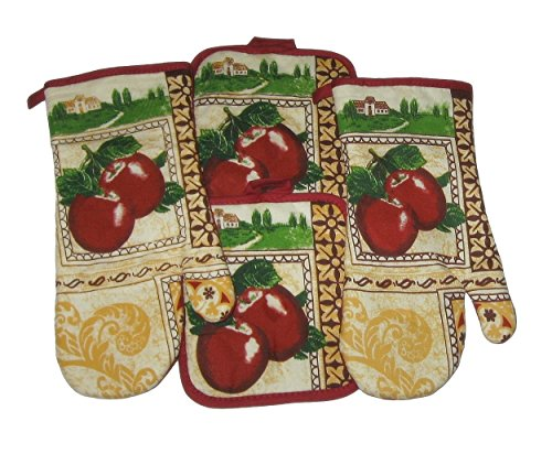 Apple Theme Cotton Potholders and Oven Mitts Set (4 Items) ()