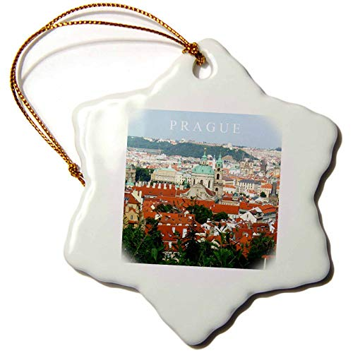 - 3dRose InspirationzStore Photography - Prague skyline - cityscape - overlooking the old town square spires - Czech Republic travel souvenir - 3 inch Snowflake Porcelain Ornament (orn_155689_1)