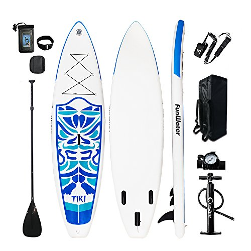 FunWater TIKI Cruise Paddle Board 10'6 length 33'' wide 6'' thick Inflatable SUP with Adjustable Paddle, ISUP Travel Backpack, Coil Leash, High Pressure Pump and Waterproof phone Case by FunWater