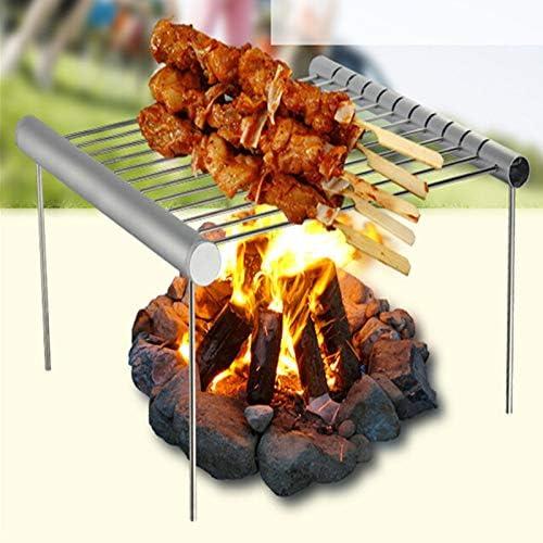 TeRIydF Portable en Acier Inoxydable Barbecue Grill Pliable Barbecue Charbon de Bois Barbecue Grill Mini Poche Barbecue Grill Accessoires