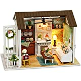 Decdeal DIY Christmas Miniature Dollhouse Kit Realistic Mini 3D Wooden House Room Craft Furniture LED Lights Children's Day Birthday Gift Christmas Decoration (Refined Version, Beautiful Time)