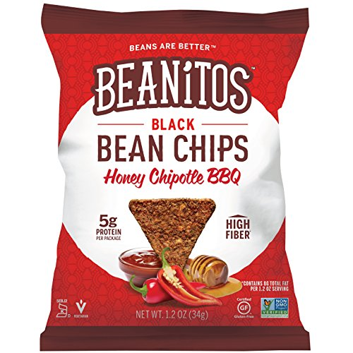 Beanitos Honey Chipotle BBQ Black Bean Chips, Plant Based Protein, Good Source Fiber, Gluten Free, Non-GMO, Corn Free Tortilla Chip Snack, 1.2 Ounce (Pack of 24)