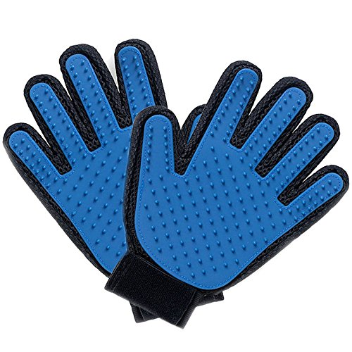 afafqfe Pet Grooming Gloves, Left & Right Deshedding Brush Glove Pet Hair Remover Mitt for Cats, Dogs & Horses