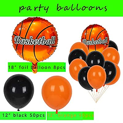 Basketball Party Supplies Kit,Basketball Foil Balloons,Latex Balloons,Fingers Basketballs Paper Confetti for Boys Sports Theme Birthday,Boys World Sports Game Celebration Décor: Toys & Games