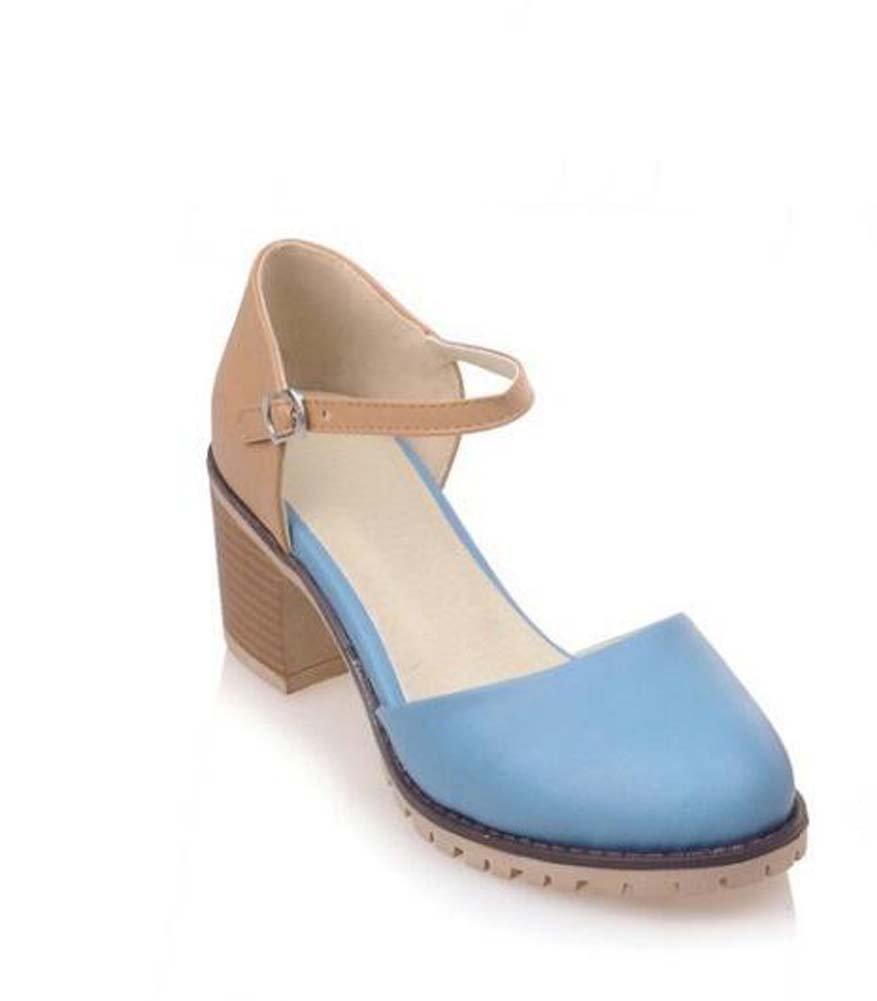 Zapatos femeninos Zapatos cómodos de primavera de poliuretano En una suela de tacón bajo En un talón grueso Puntera redonda para Casual ( Color : Blue , tamaño : 34 ) 34 Blue
