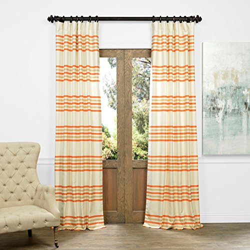 Half Price Drapes JQCH-AS214316-84 Horizontal Stripe Jacquard Curtain, Madison Rust/Cream, 50