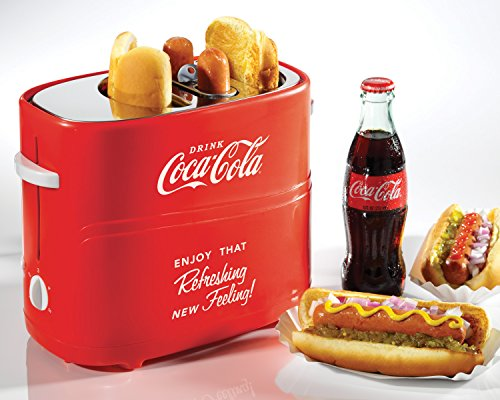 Nostalgia HDT600COKE Coca-Cola Pop-Up 2 Hot Dog and Bun Toaster, With Mini Tongs, Works With Chicken - http://coolthings.us