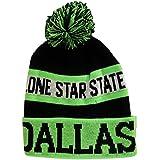 Dallas Lone Star State Adult Size Winter Knit Pom Beanie Hat (Green/Black)