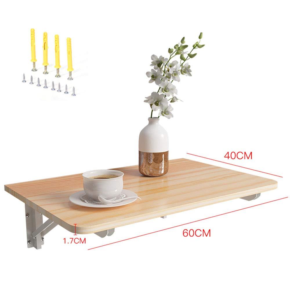 Vikbart bord, väggmonterade hyllor, multifunktionella barnarbetsbord/tvättarbetsbord, metalltriangelfäste, 60 x 40 cm Träfärg