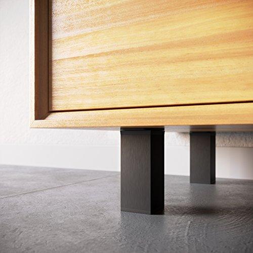 Vierkant-Profil: 40 x 40 mm +20mm Farbe: Inox h/öhenverstellbar 2 x 4er Set 8 St/ück Sossai/® MFV1-IX060-8 | Material: Aluminium H/öhe: 60mm Design-M/öbelf/ü/ße Doppelpack