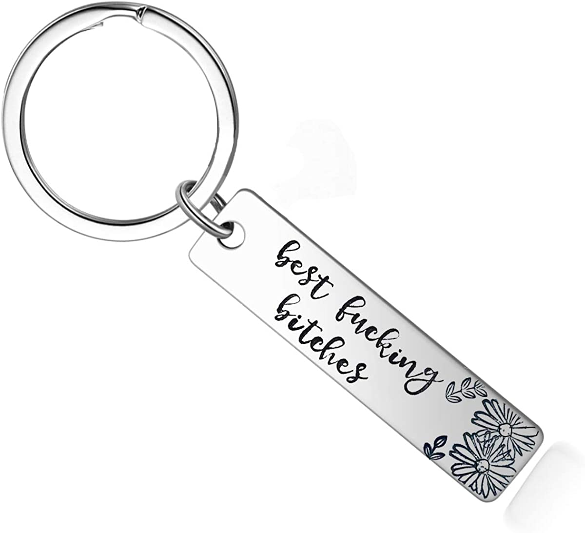 N /A Best Friend Keychain - Best Funking Bitches Keyring Gifts for Women Teens Sisters, Birthday Gifts for Best Friend BFF Jewelry, Silver, Medium