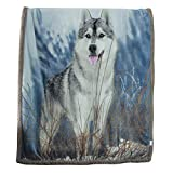 Sherpa Throw Blanket for Kids, 500GSM Wolf Dog Animal Reversible Fuzzy Cozy Plush Travel Blanket for Kid Children 51 x 63