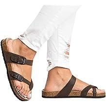 Ermonn Womens Thong Flat Sandals Gladiator Buckle Strappy Cork Sole Summer Slides