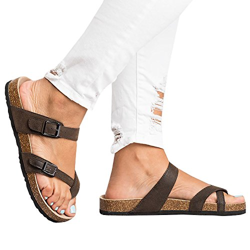 (Ermonn Womens Thong Flat Sandals Gladiator Buckle Strappy Cork Sole Summer)