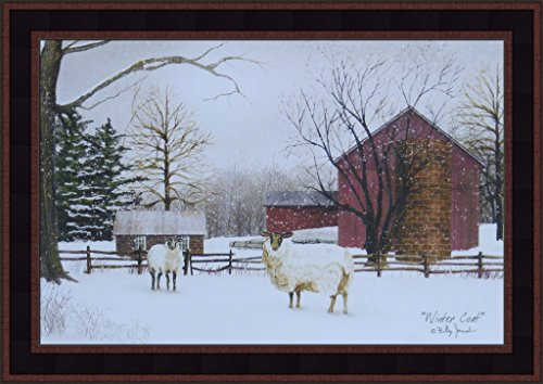 - Home Cabin Décor Winter Coat by Billy Jacobs 15x21 Sheep Lamb Wool Snow Country Farm Barn Primitive Folk Art Print Framed Picture