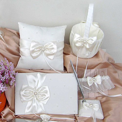 Wedding Flower Girl Basket Rings For Ring Bearer Pillow Garter Guest Book Pen Wedding Set Decoration Ribbon Ceremony Party Favors For Guests (New Ivory with (Guest Book Pen Set Ring)
