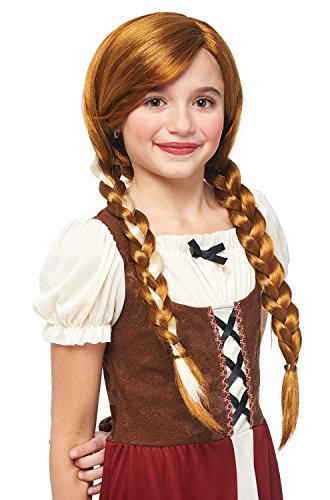 Braided Pigtail (Kids Peasant Girl Natural Red Braided Pigtails Wig)