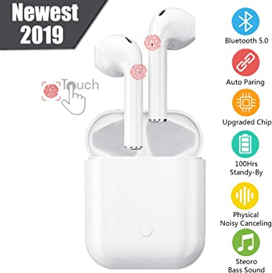 Bluetooth 5.0 Wireless Earbuds Noise Canceling Sports Headphones with Charging Case IPX5 Waterproof Stereo Earphones in-Ear Built-in HD Mic Headsets Compatible with iPhone Android Apple Airpod