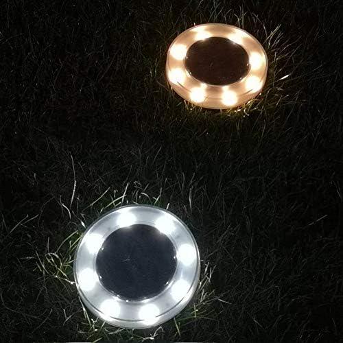 SDGDFXCHN 8 led Solar Disk Lights, Upgrade im Freien 100LM 8 LED Solar In Ground Lights für Rasen, Garten, Fahrstraße