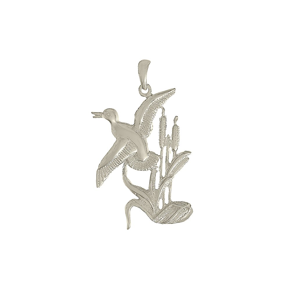 Duck Flying From Willowith 2-D 925 Sterling Silver Animal Charm Pendant