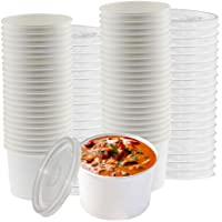 Smygoods Paper Soup Containers with Lids, 16oz, Hot Soup Cups with lids, 50 Count,
