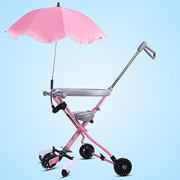 Triciclos WSSF- Trolley de bebé Trike Plegable artefacto bebé resbaladizo con Paraguas Coche de 5