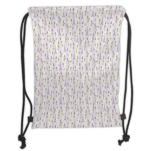 - New Fashion Gym Drawstring Backpacks Bags,Paris,Floral Arrangement with Lavender Flowers on Soft Stripes City Symbol,Lilac Pale Green Lavander Soft Satin,Adjustable String Closure