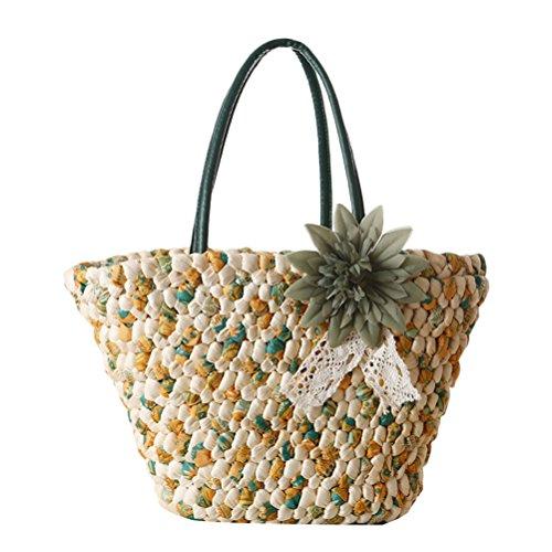 Zhhlaixing Casual Fashion Flower Straw Bag Vacation Woven Beach Bags Handbag Summer Bolsa hermosa especial for Women Army Green