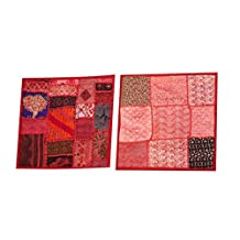 Mogul Red Pillow Sham Embroidered Patchwork Throw Cushion Covers